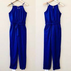 SWEET STORM⚡️Belted Shimmering Navy Jumpsuit_S